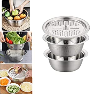 LCJDD Multifunctional Stainless Steel Basin with Grater, Vegetable Cutter with Drain Basket 3 in 1, Grater/Drain Tray/Bottom Basin for Fruits, Vegetable, Food (30cm)
