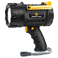 Rechargeable Spotlight, 18W Waterproof Spotlight Flashlight 1300 Lumens with 3 Light Modes, USB Charger and Output Function for Boating, Hiking, Camping and Roadside Emergencies, C P CHANTPOWER