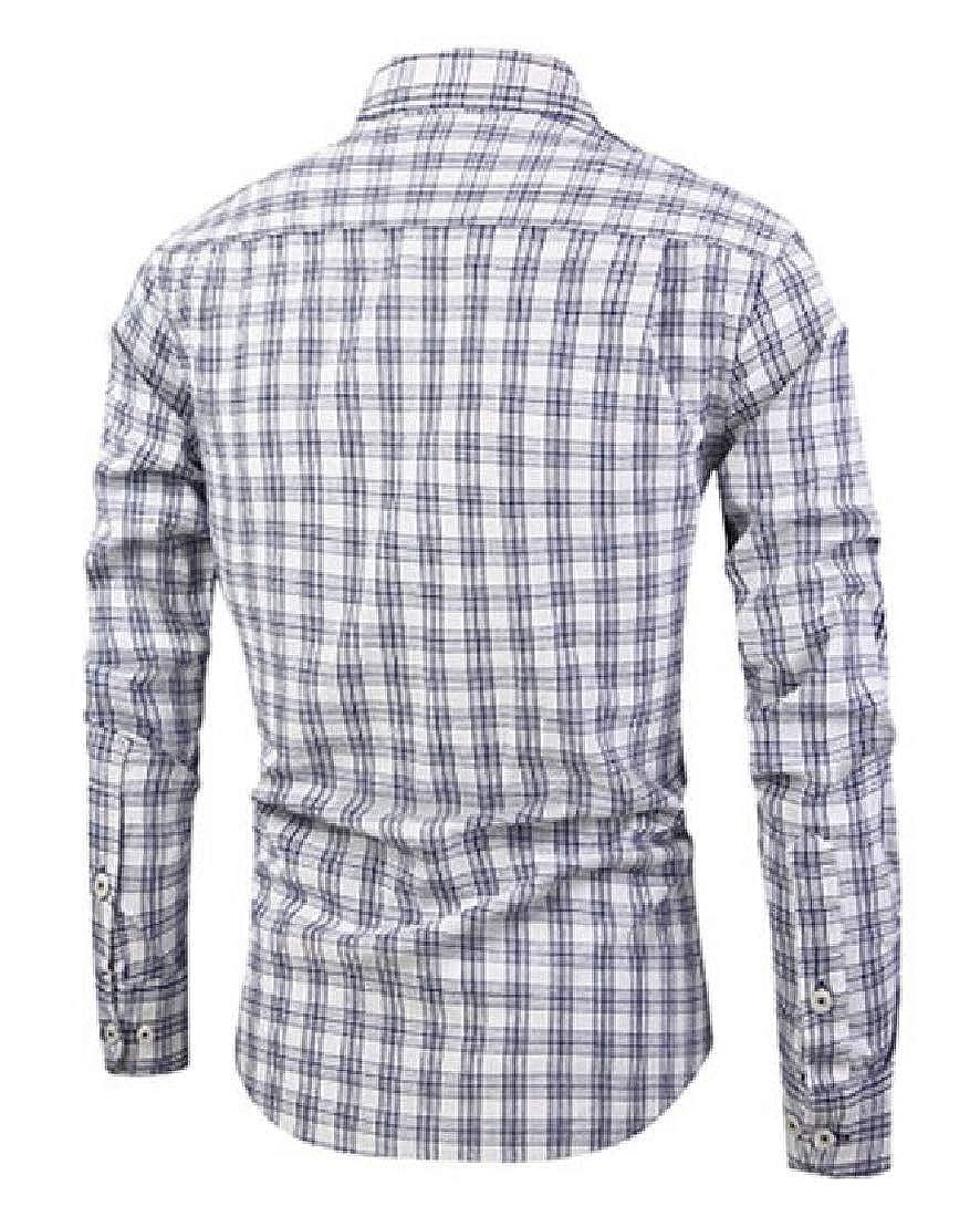 Jofemuho Mens Plaid Print Long Sleeve Lapel Regular Fit Cotton Button Down Dress Shirt