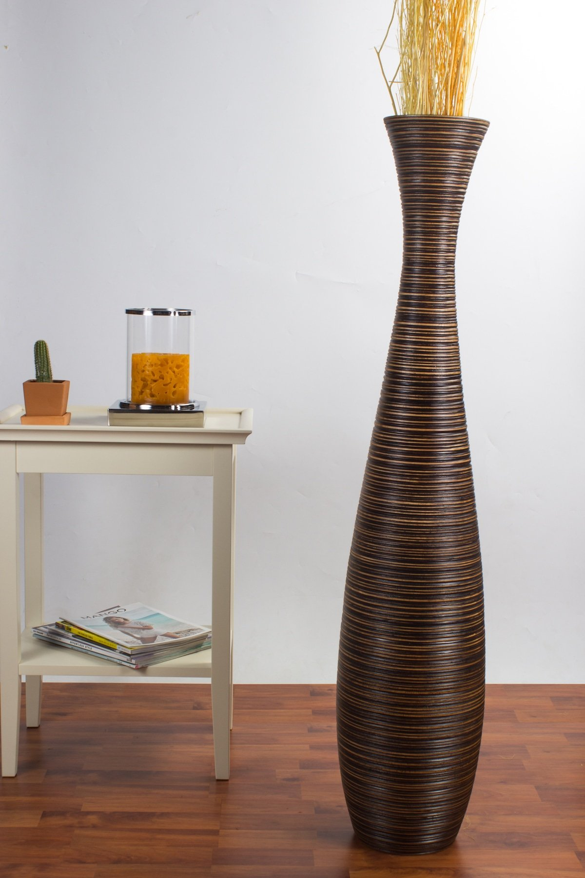 Tall Floor Vase 44 inches, Wood, Brown