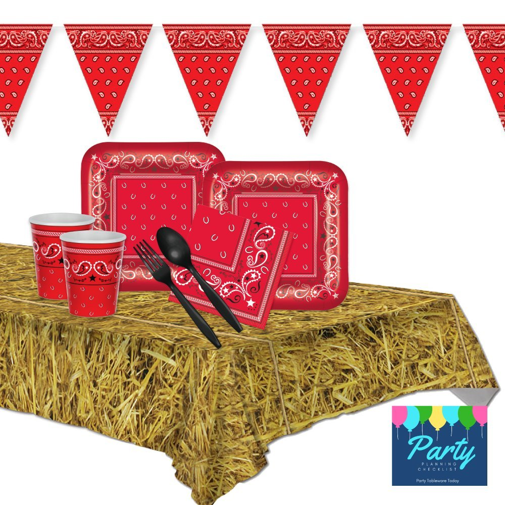 FAKKOS Design Western Red Bandana Farm Party Supplies for 16 Guests - Plates, Napkins, Cups, Plasticware, & Tablecover
