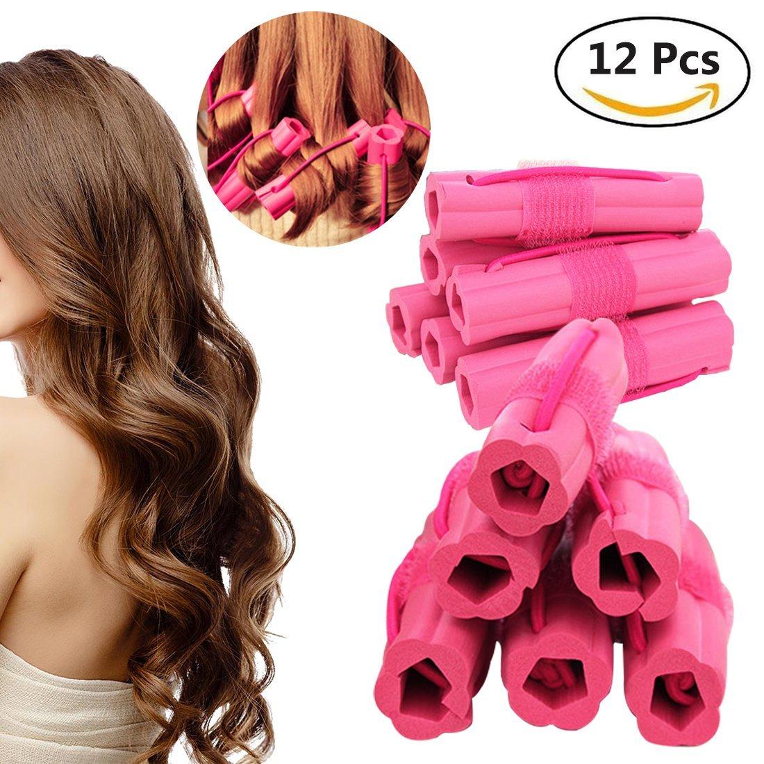 Hair Rollers Curlers, Foam Sponge Hair Curlers, Pillow Hair Curlers, No Heat Sleep Hair Rollers for Long Thick & Thin Hair, Flexible Sleeping Hair Curlers for Women & Girls, 12 Pcs - Rose Red