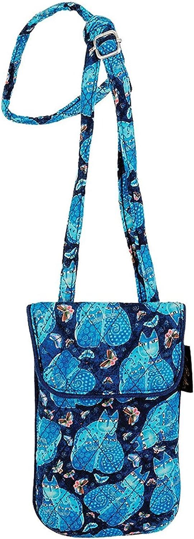 Laurel Burch Indigo Cats Quilted Cotton Small Flap over Crossbody Bag Handbag Purse