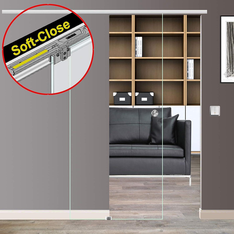 900 x 2050 mm, Soft-Close Selbsteinzug Slimline Alu-Schinensystem mit Griffstange 420mm rund Wandseite Flach Schiebet/ürsystem ESG Dekor Klarglas C-Alu mit 30mm Wandabstand
