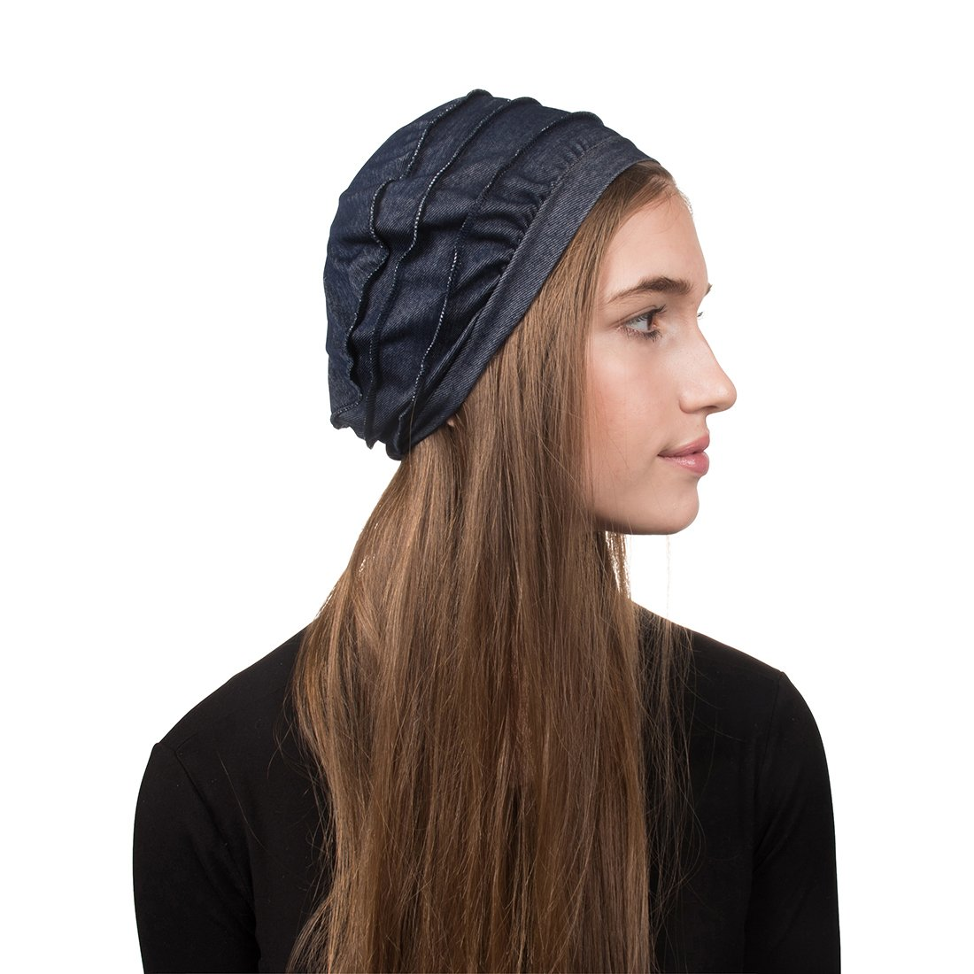 Landana Headscarves 3 Seam Denim Hat Ladies Chemo Hat Cancer Cap LDHT0039BK