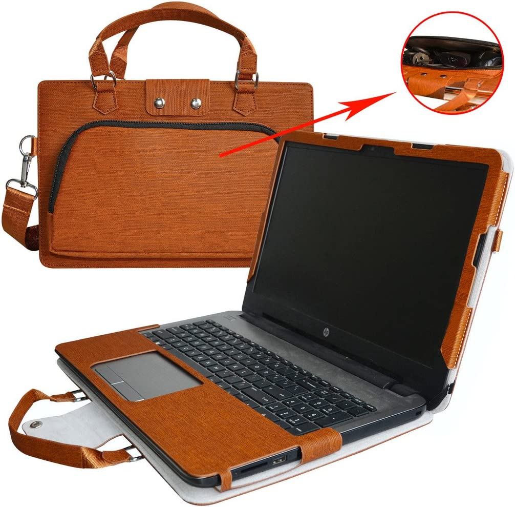 """HP Notebook 15 Case,2 in 1 Accurately Designed Protective PU Leather Cover + Portable Carrying Bag for 15.6"""" HP Notebook 15 15-bs000 15-bw000 Series Laptop(Not fit 15-ac000/15-ay000/15-ba000),Brown"""