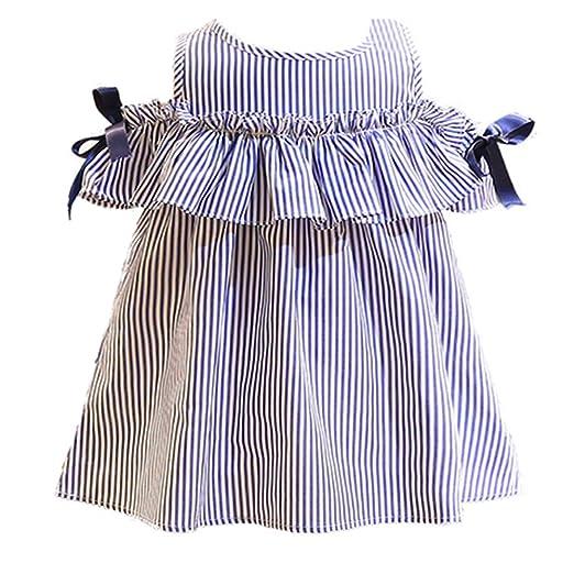 a3c0ba32f Summer Children Girls Dress Sleeveless Blue Striped Ruffles Dress +  Headband 2PC Fashion Clothes for Girls