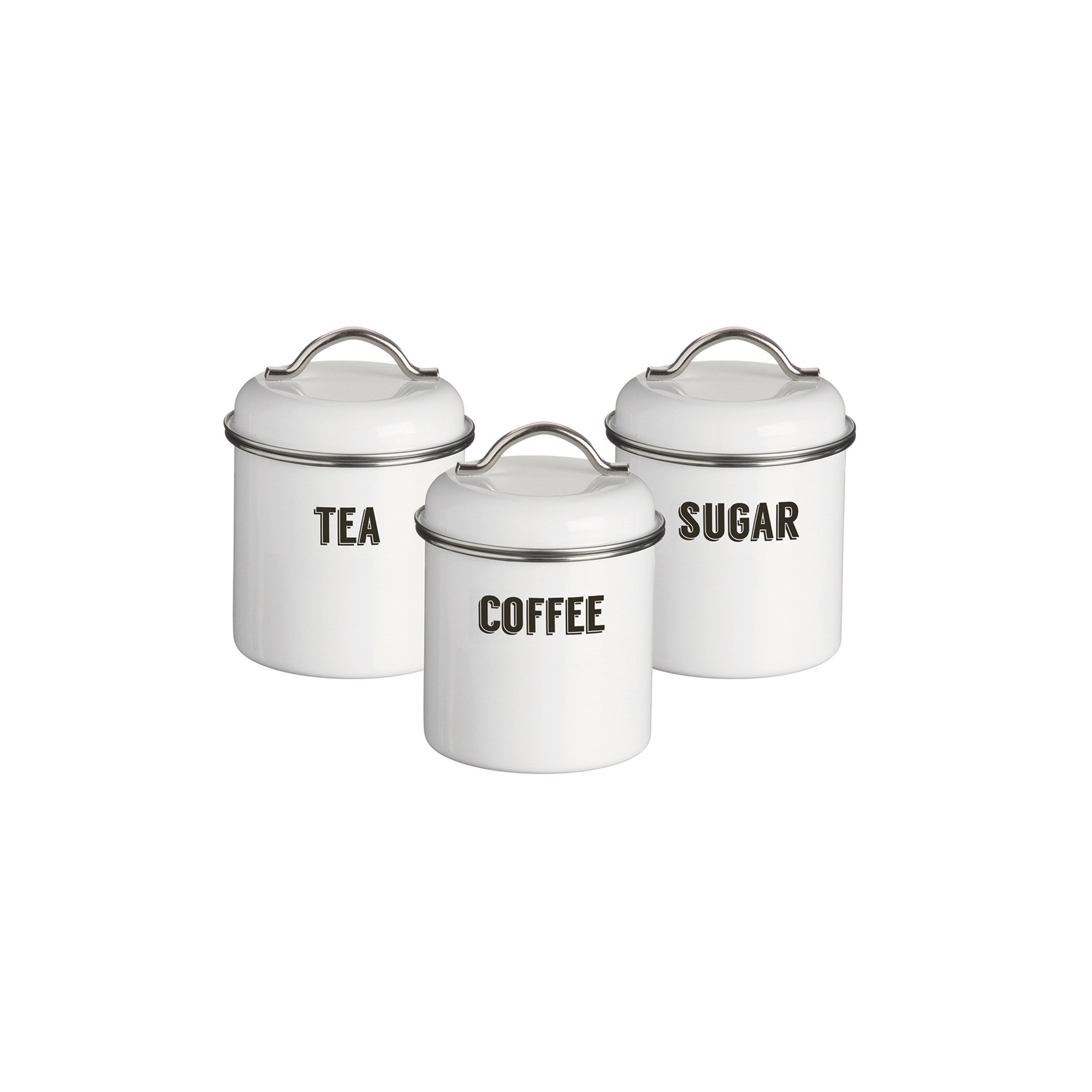 Typhoon Living Coated Steel Retro 3-Piece Canister Set, 23-3/4-Fluid Ounces, White by Typhoon