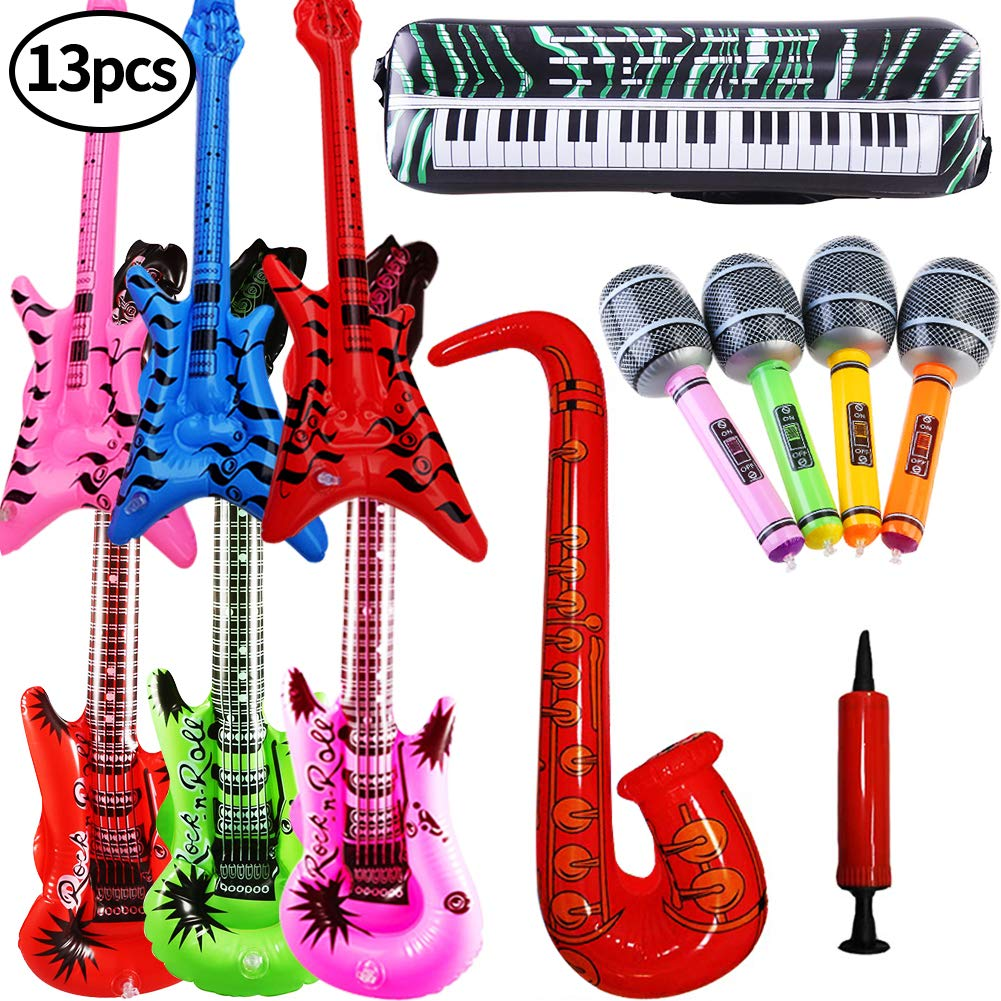 SWZY Inflables de Juguete, Inflable Guitarra Saxofón Micrófono Teclado, Música Parte Prop para Fiesta,Rock Star Saxofón Guitarra Micrófono Inflatable ...