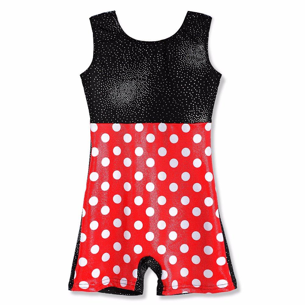 Girls Gymnastics Leotards for Kids Size 9-10 Biketards Unitards Polka Dots Red Black by HOZIY