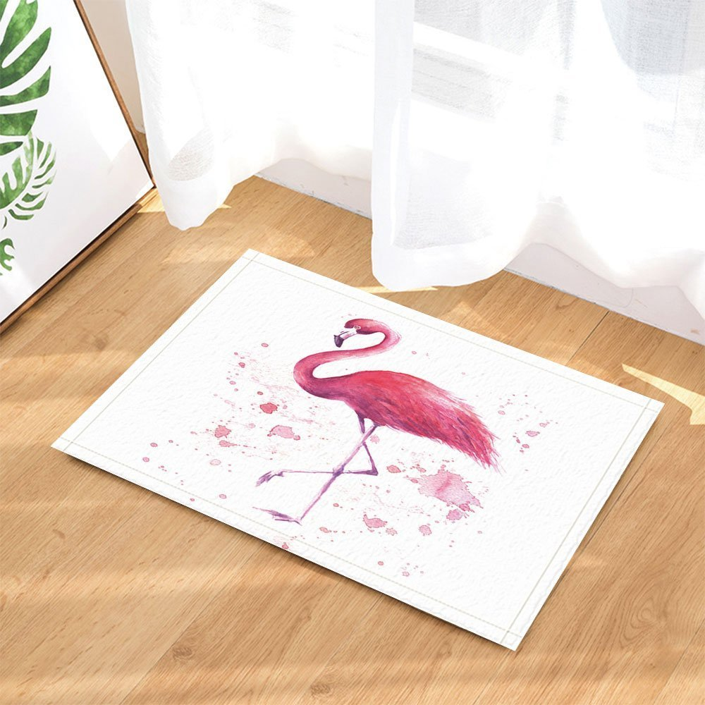 Creer Salle De Bain Dans Une Chambre ~ Tapis De Bain Dessin S La Main Flamant Rose Tropical Wildlife
