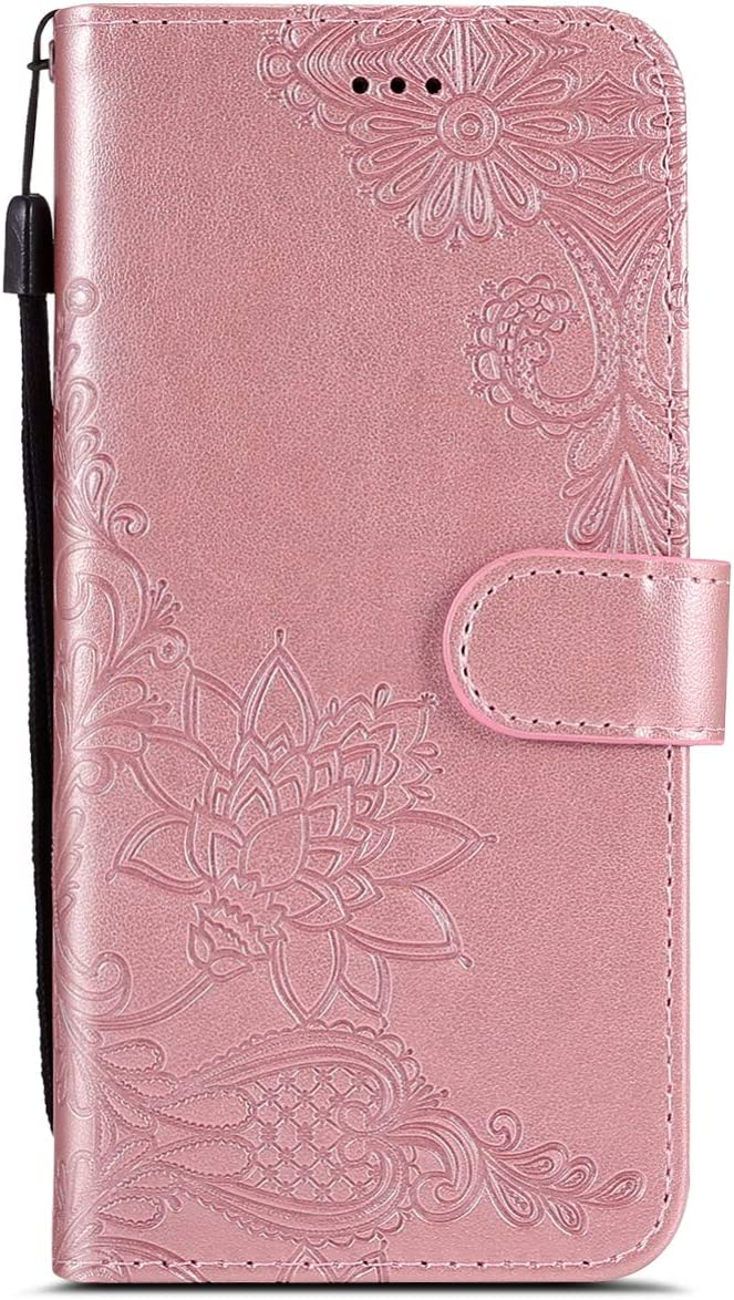 Herbests Compatible with Xiaomi Redmi 5 Plus Case Emboss Flower Luxury Design Pattern Flip PU Leather Wallet Case Cover with Wrist Strap Stand Card Holder Bookstyle Magnetic,Gray