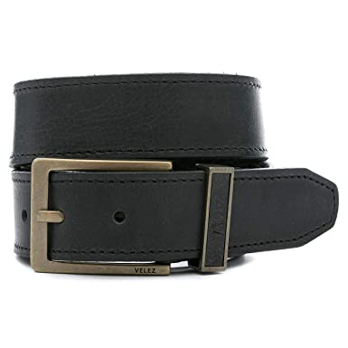Velez Genuine Full Top Grain Men Real Leather Belt Correa Cuero de Caballero Black 40