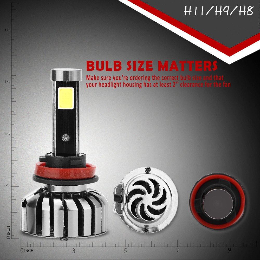 Eforcar coche LED bombillas para faros delanteros, con avanzada (Chip (80 W//6000 K) -import impermeable Super brillante COB LED luz todo en uno Kit de ...