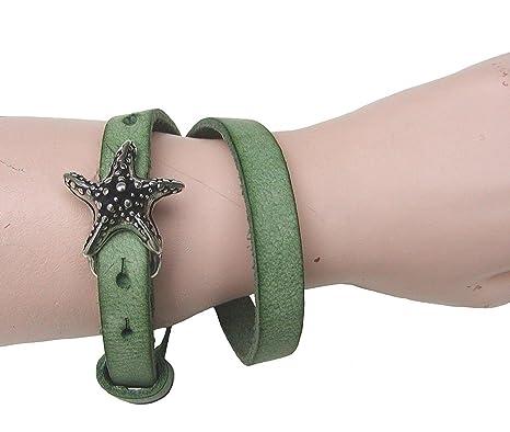 Boom Belts cooles Damen, Herren echt Leder Armband grün, Unisex Leder  Wickel Armband, ca. 43x1 cm, für 1 cm Schließen  Amazon.de  Bekleidung 557b6762bb