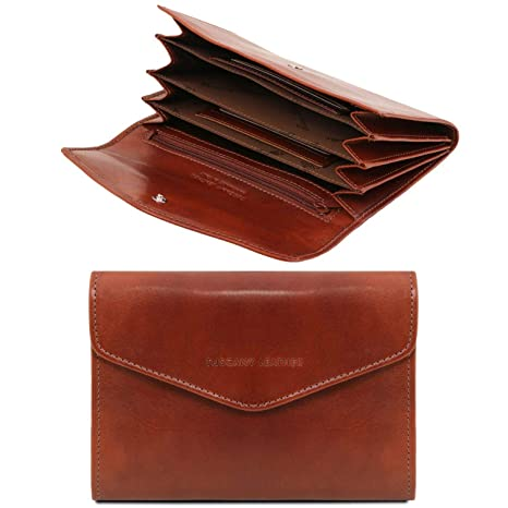 Tuscany Leather Exclusive leather accordion wallet for women Honey