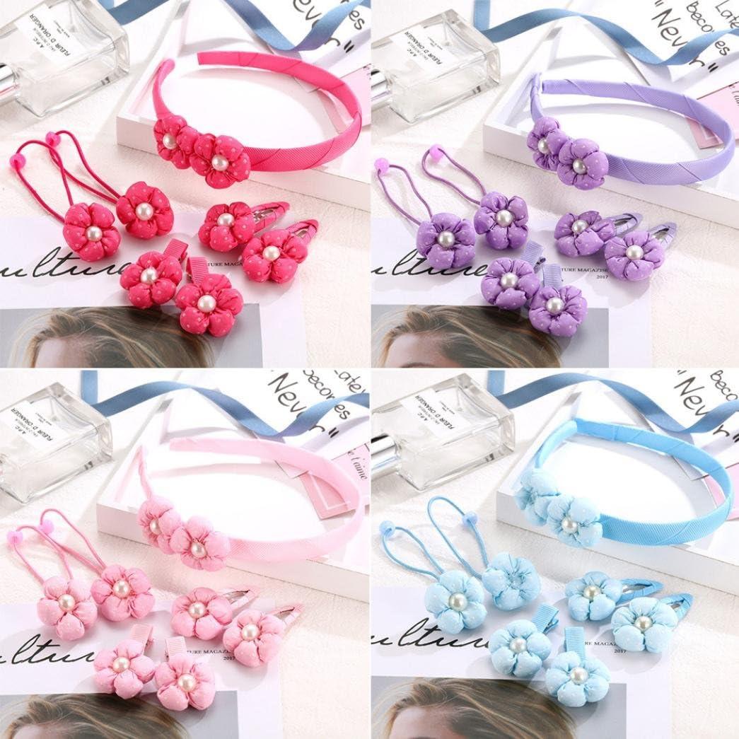 IGEMY Kinder Perle mit Blume geformt Haarnadel Rosa Baby M/ädchen Volltonfarbe Haarspange Set 7Pcs