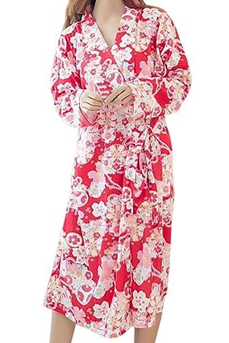 (R-Dream)柔らかな肌触り浴衣パジャマルームウェア部屋着綿ポケット付きレディース和風和服甚平寝間着可愛い(d.花柄赤)衣装仮装ランジェリー伝統的館内着デートペアルックあったか涼しい涼感日本ルームワンピース(e.花red)