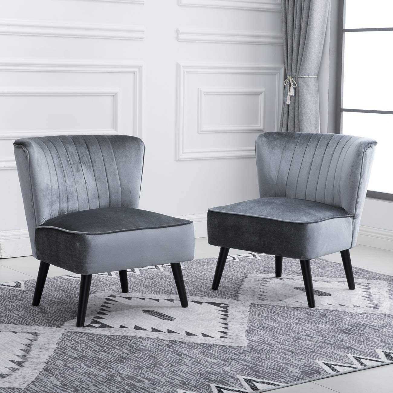 Huisen furniture Accent Living Room Side Wingback Chair Pair Grey Velvet  Fabric Upholstered Seat Chairs Occasional Bedroom Recliner Leisure Chairs  Set