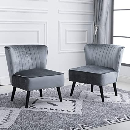 15 Accent Living Room Comfy Tub Chairs Armless Recliner Leisure Chairs  Bedroom Occasional High Back Beside Sofa Chair with Velvet Upholstered  Padded