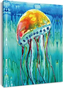 HVEST Jellyfish Canvas Wall Art Marine Life in The Sea Artwork Underwater Animal Painting for Living Room Bedroom Bathroom Decor,Stretched and Framed Ready to Hang,12x16Inches