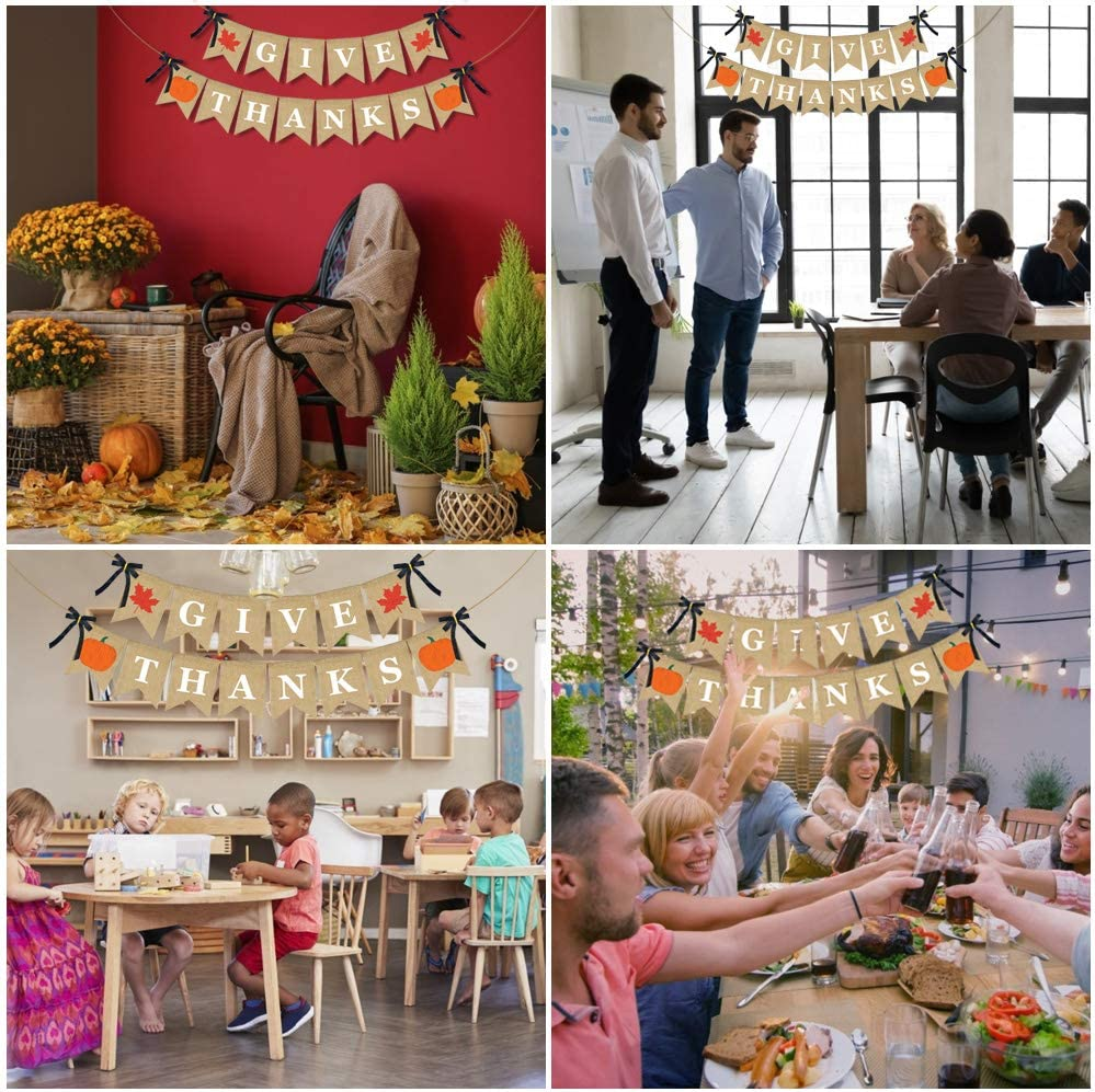 ERKOON Give Thanks Burlap Banner,Thanksgiving Banner for Harvest Time Thanksgiving Party Decoration