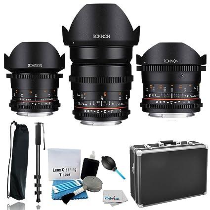 Amazon.com : Rokinon Full Frame Cine DS Wide Angle Lens Kit - 12mm ...