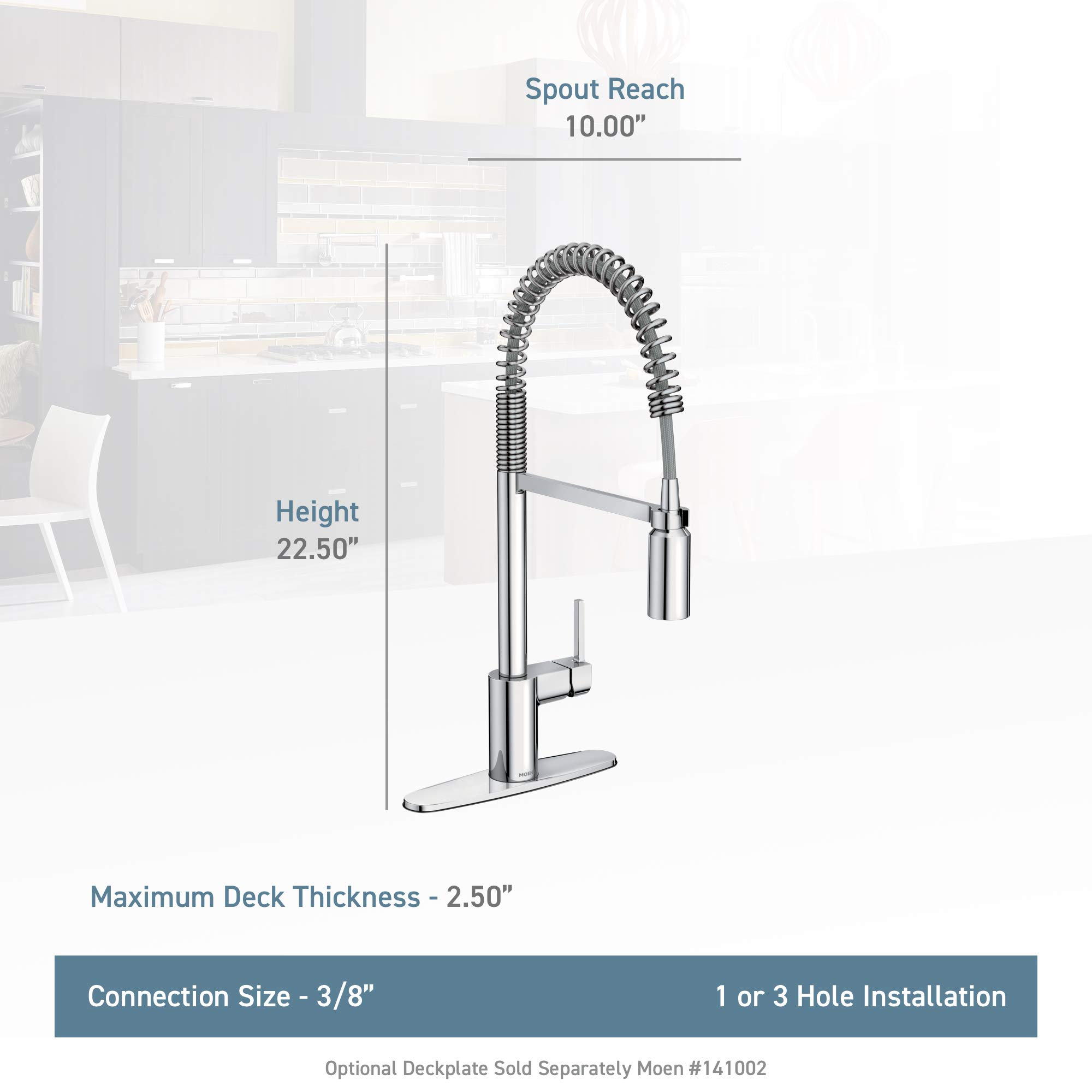 Moen 5923 Align One-Handle Pre-Rinse Spring Pulldown Kitchen Faucet with Power Clean, 1 count, Chrome by Moen (Image #3)