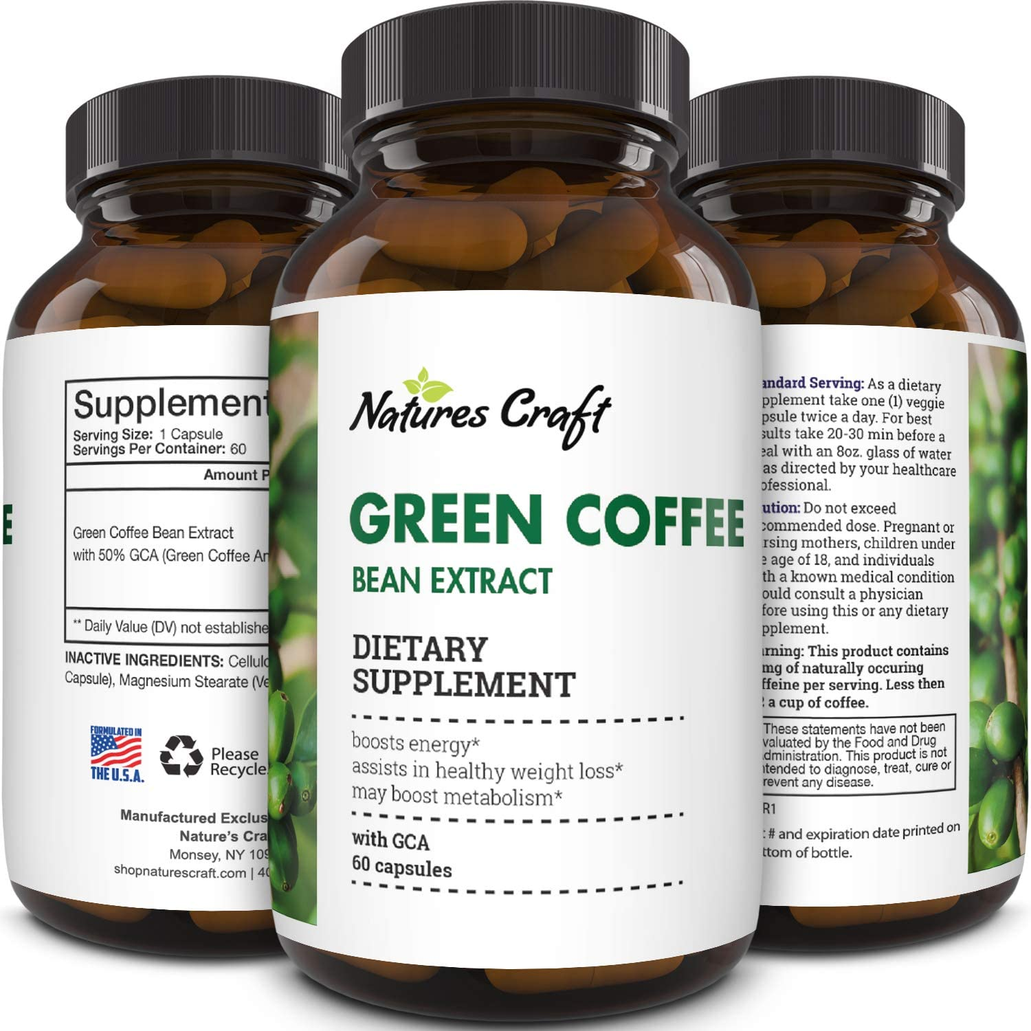 Amazon Com Natural Raw Green Coffee Bean Extract Extra Strength Pure Premium Antioxidant Beans 800 Mg Max Fat