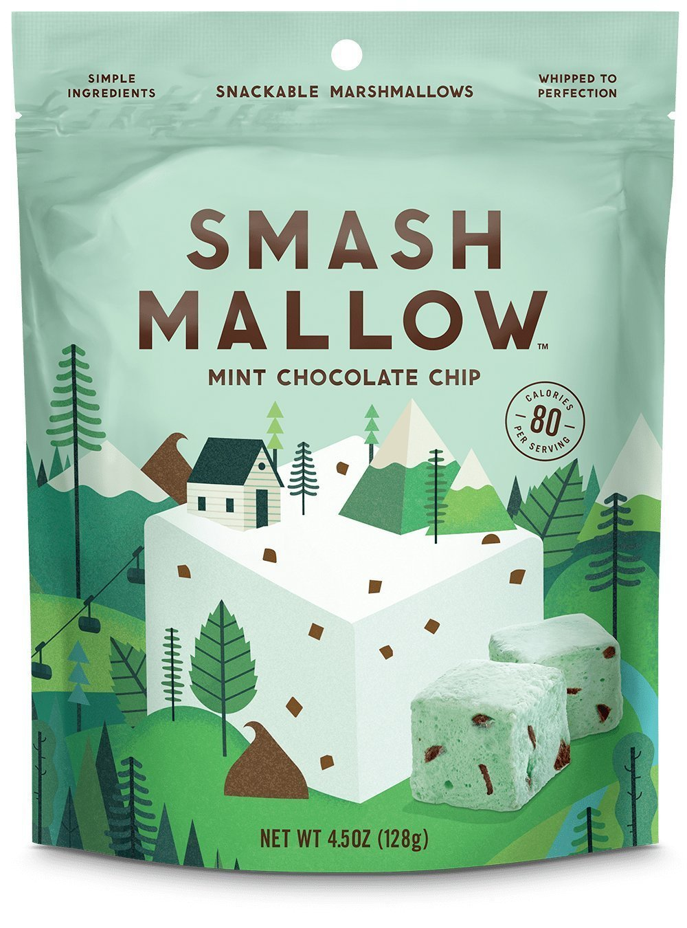 Smash Mallow Snackable Marshmallows Mint Chocolate Chip 4.5 oz (Pack of 4) by Smash Mallow