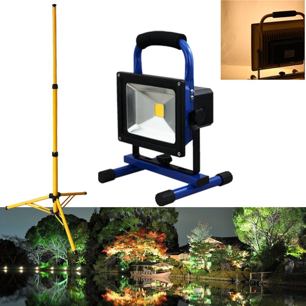 Hengda® Wiederaufladbare 30W Warmweiß LED AKKU Fluter Baustrahler IP65 Tragbar Handlampe Mit Teleskop-Stativ