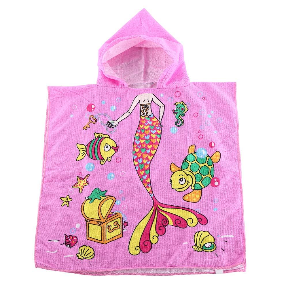 カートゥーンプリント キッズビーチタオル 2歳から8歳用 フード付き ポンチョバスタオル スーパーソフト 吸収性 ピンク B07R1H1B5M Pink Mermaid