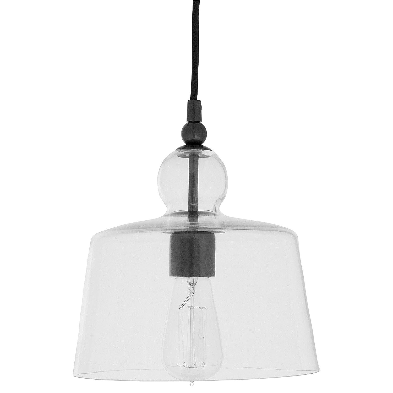 "Stone & Beam Modern Black Pendant Light, 42""H, Glass Shade"