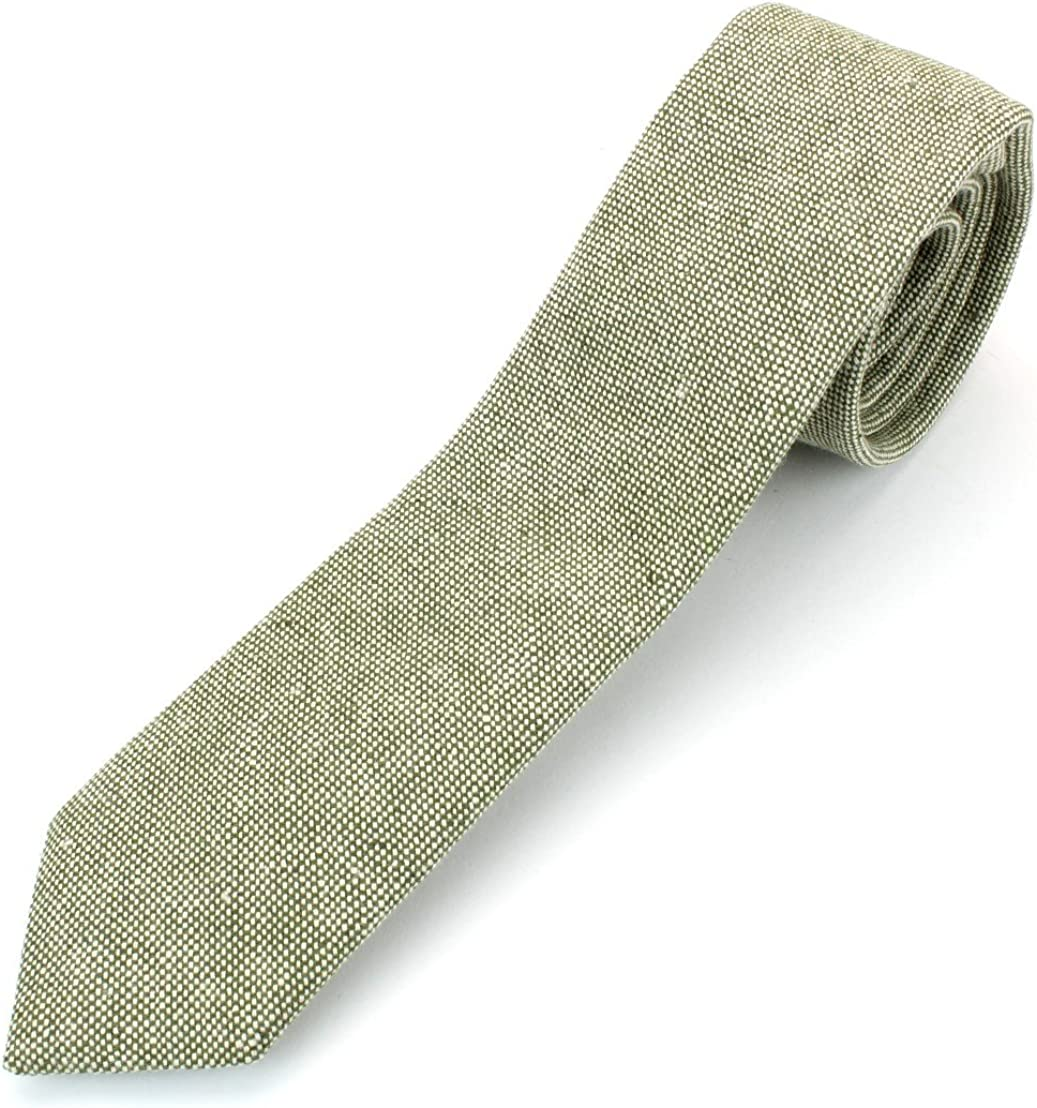 Mens Linen Cotton Skinny Necktie Tie Chambray Weave Washed Texture 2 1//2 Width