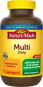 Nature Made Multivitamin Daily Tablets with Vitamin D3 and Iron, 300 Count (Packaging May Vary)