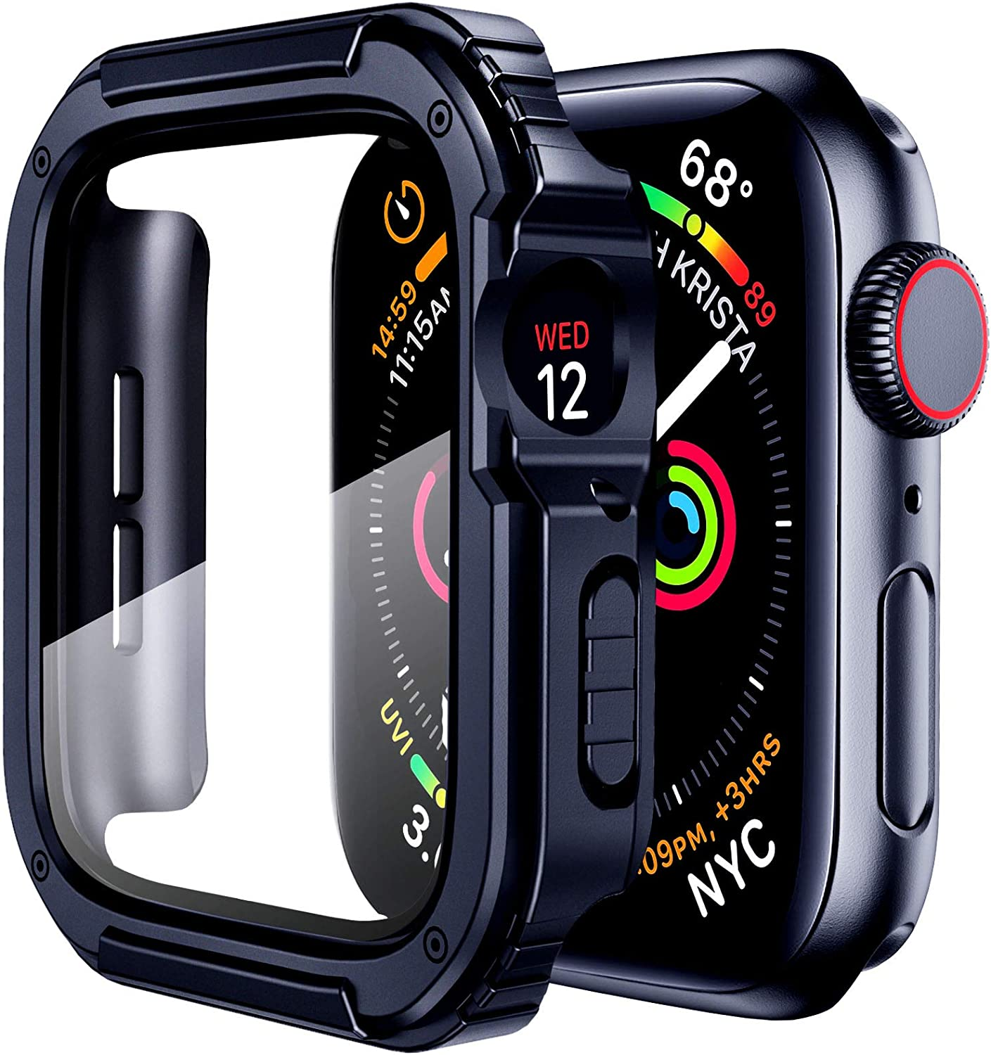Mesime Rugged Case Cover Compatible for Apple Watch 44mm with Tempered Glass Screen for iwatch Series 4 5 6 SE Protective Bumper Accessories Hard Case for Women Men -Blue