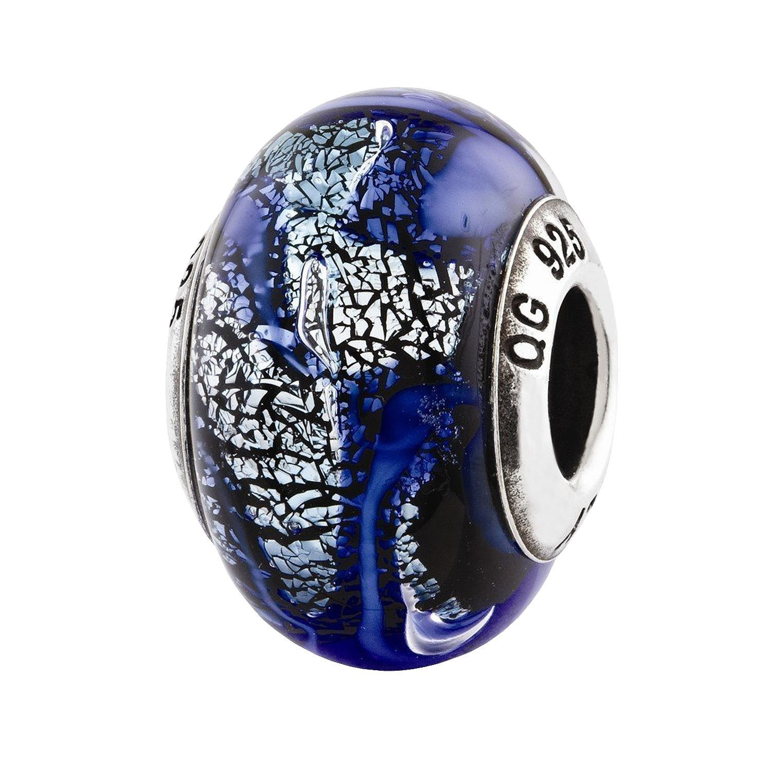 Sterling Silver Reflections Blue Italian Glass Bead