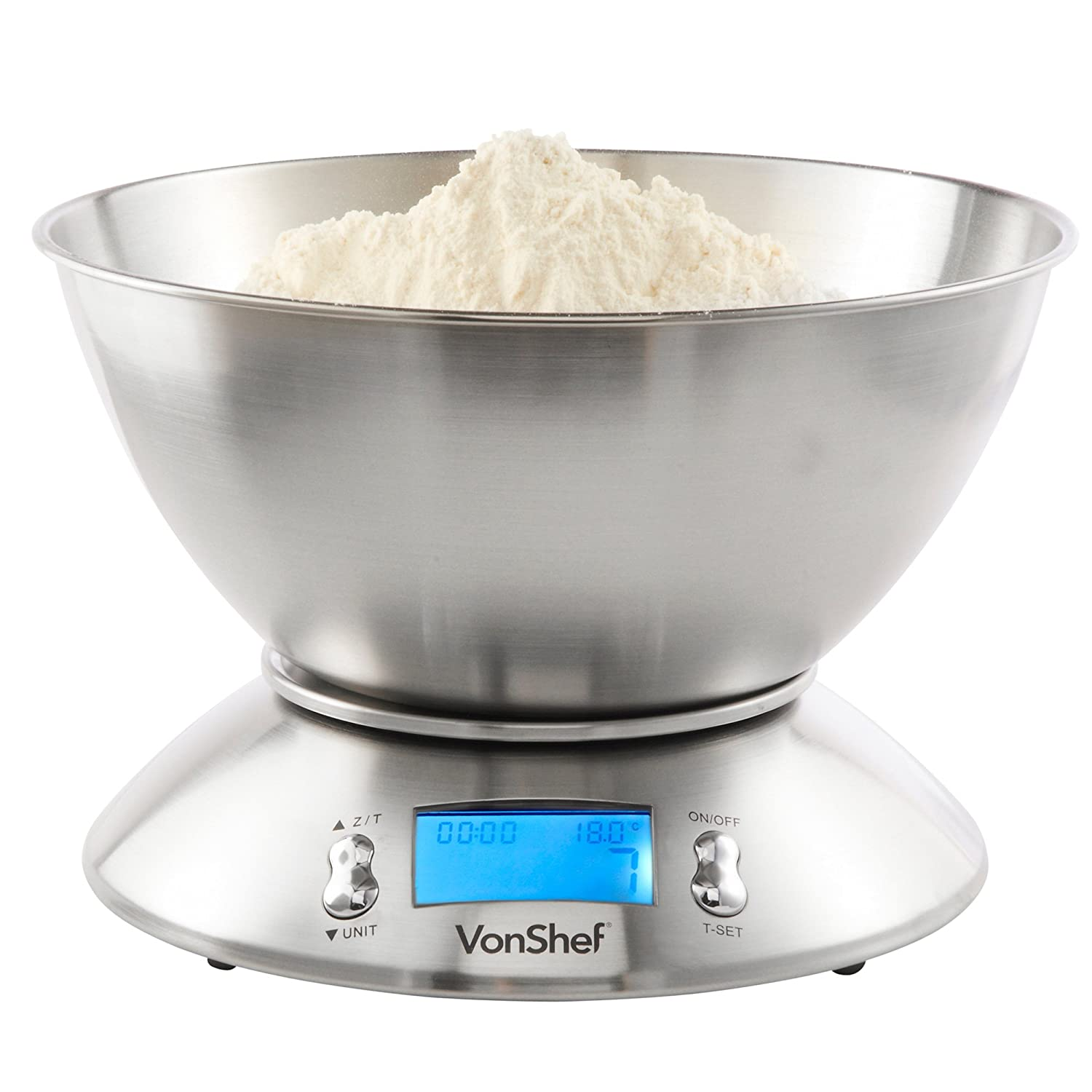 VonShef High Quality 5kg/11lb Digital Electronic Kitchen Scales With  Stainless Steel Mixing Bowl: Amazon.co.uk: Kitchen U0026 Home