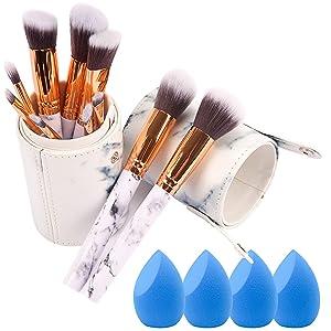 Makeup Brush Set With Holder, 10 Pcs Make Up Brushes Set And Eyeshadow Brush, 4 Pcs Makeup Sponge Beauty Blender and Brush Holder Pot, Multifunctional makeup tool, (14 pieces)