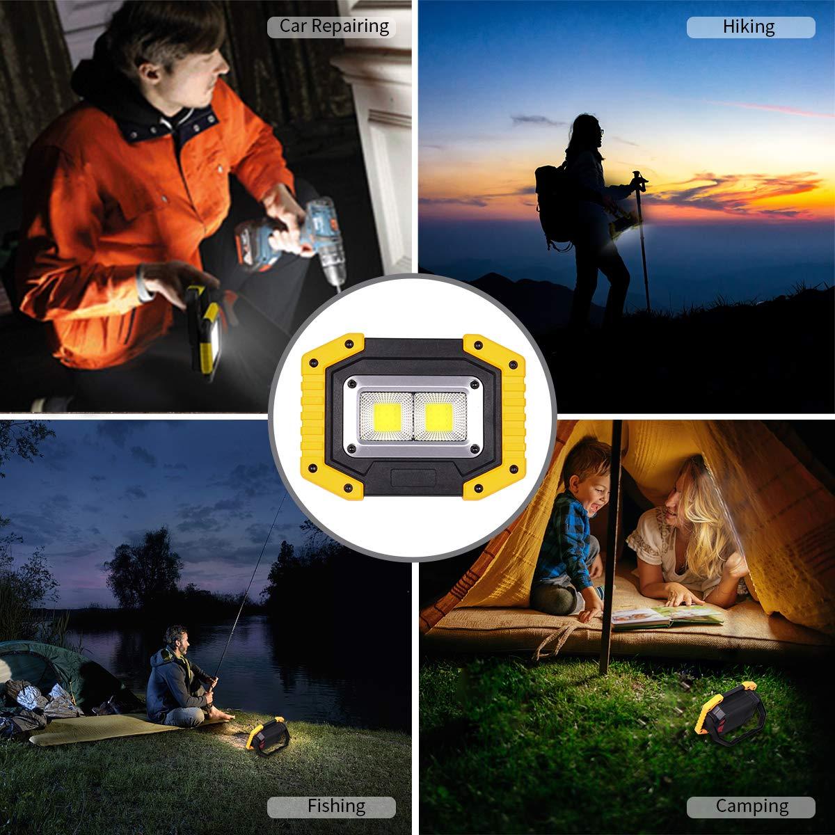 LED Baustrahler Sicherheitsnotbeleuchtung Angeln Camping Scheinwerfer wasserdicht im Freien f/ür Autoreparatur Wandern 3 Modi Arbeitsscheinwerfer tragbar 30 W mit USB