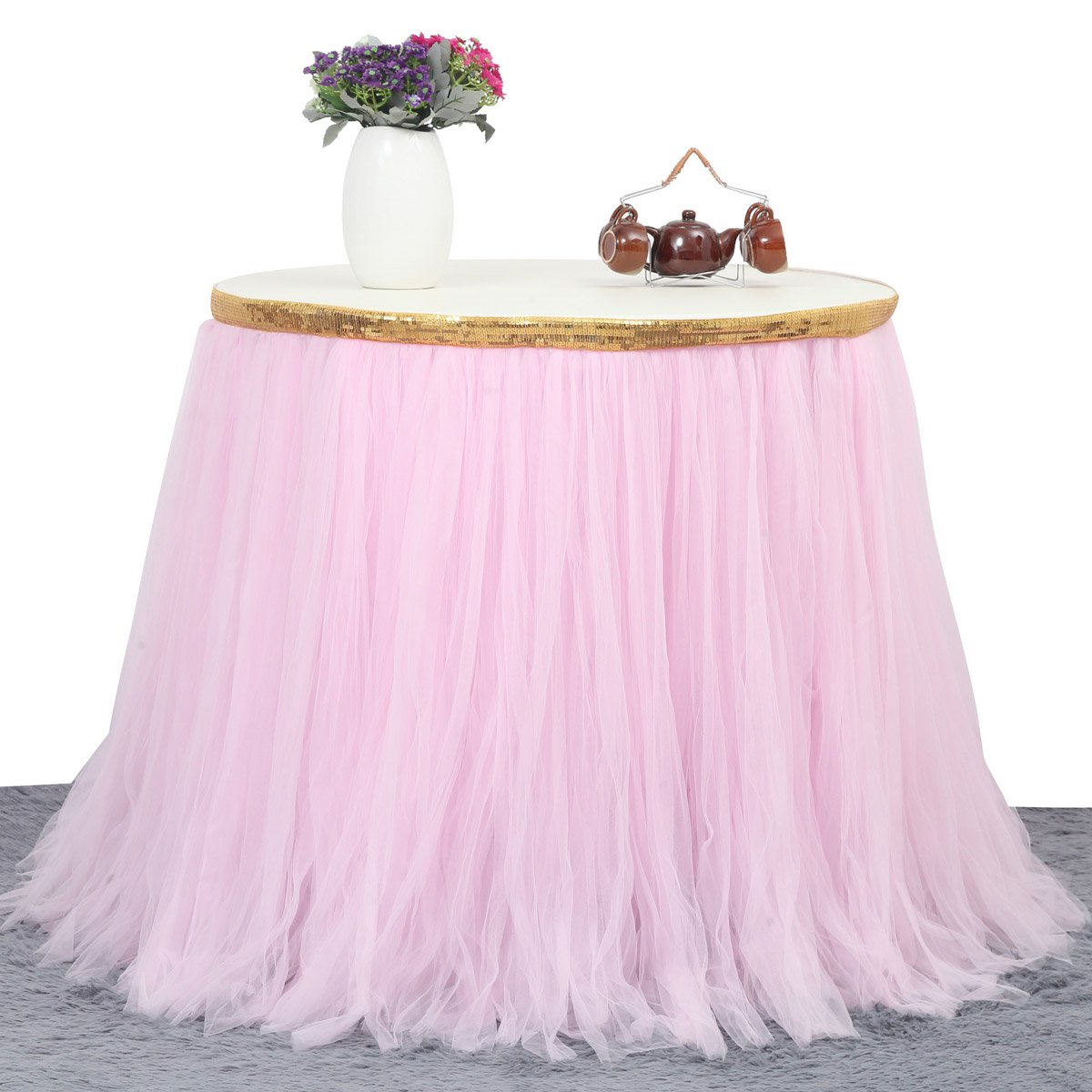 9ft Gold/Pink Tulle Table Skirt Tutu Table Skirts Wedding Birthday Baby Shower Party Table Skirting by HB HBB MAGIC (Image #3)