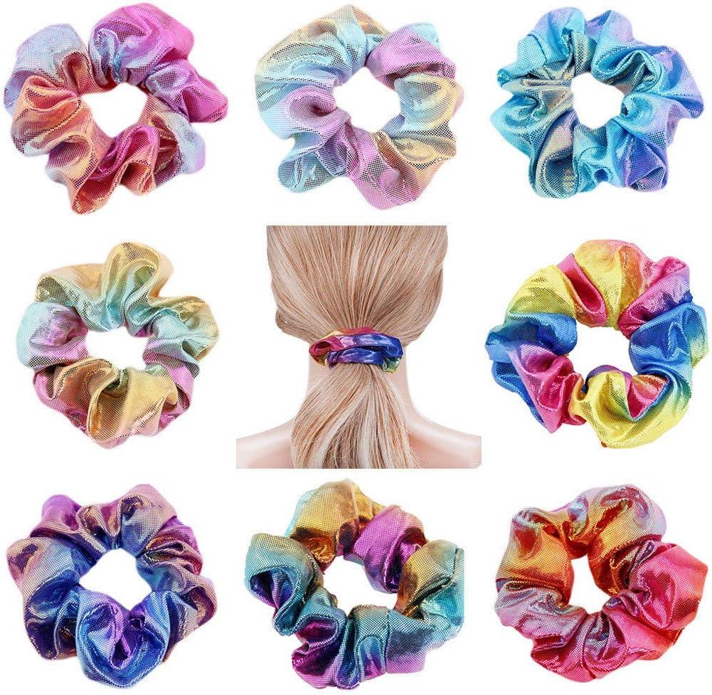 Iusun 24PCS Christmas Velvet Elastic Hair Bands Colorful Rope Ponytail Holder Shrink Hair Scrunchies Hair Ring for Hair Bow Accessories