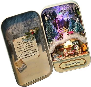 Amazon.es: Baoblaze DIY Mini Caja de Dollhouse con Muebles LED en Miniaturas Box Theatre Doll - Snow Dream: Juguetes y juegos