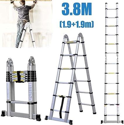 Autofather - Escalera telescópica de multiusos, de aluminio, plegable, extensible con más peldaños, ligera, fácil de transportar, resistente, segura para escalar (3,8 m): Amazon.es: Coche y moto