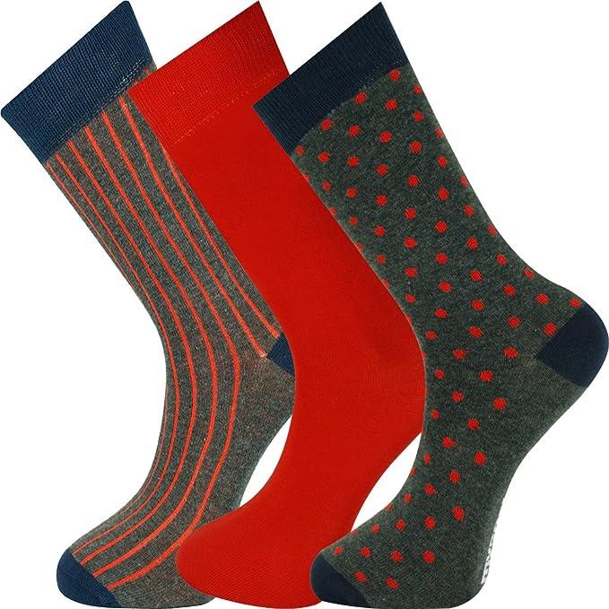 Mysocks® 3 pares de calcetines tobilleros diseño múltiple Antracita Armada rojo