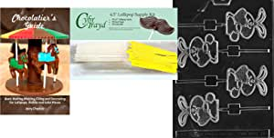 Cybrtrayd Bunny with Heart Lolly Easter Chocolate Mold with Chocolatier's Bundle, Includes 50 Lollipop Sticks, 50 Cello Bags, 50 Yellow Twist Ties and Guide