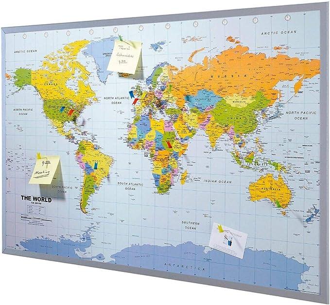 Mapa del mundo de la pared XXL - incluyendo 12 banderas de marcador - corcho - 90 x 60 cm - Mapa: Amazon.es: Hogar