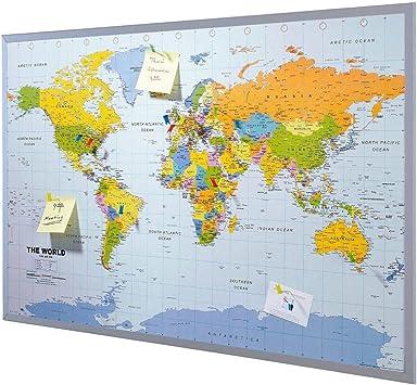 Pinnwand Weltkarte Xxl Inklusive 12 Markierfahnchen Kork 90