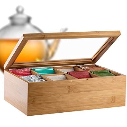 Merveilleux Bambüsi By Belmint 8 Compartment Tea Storage Box With Hinged Lid ✦ Crafted  Of 100