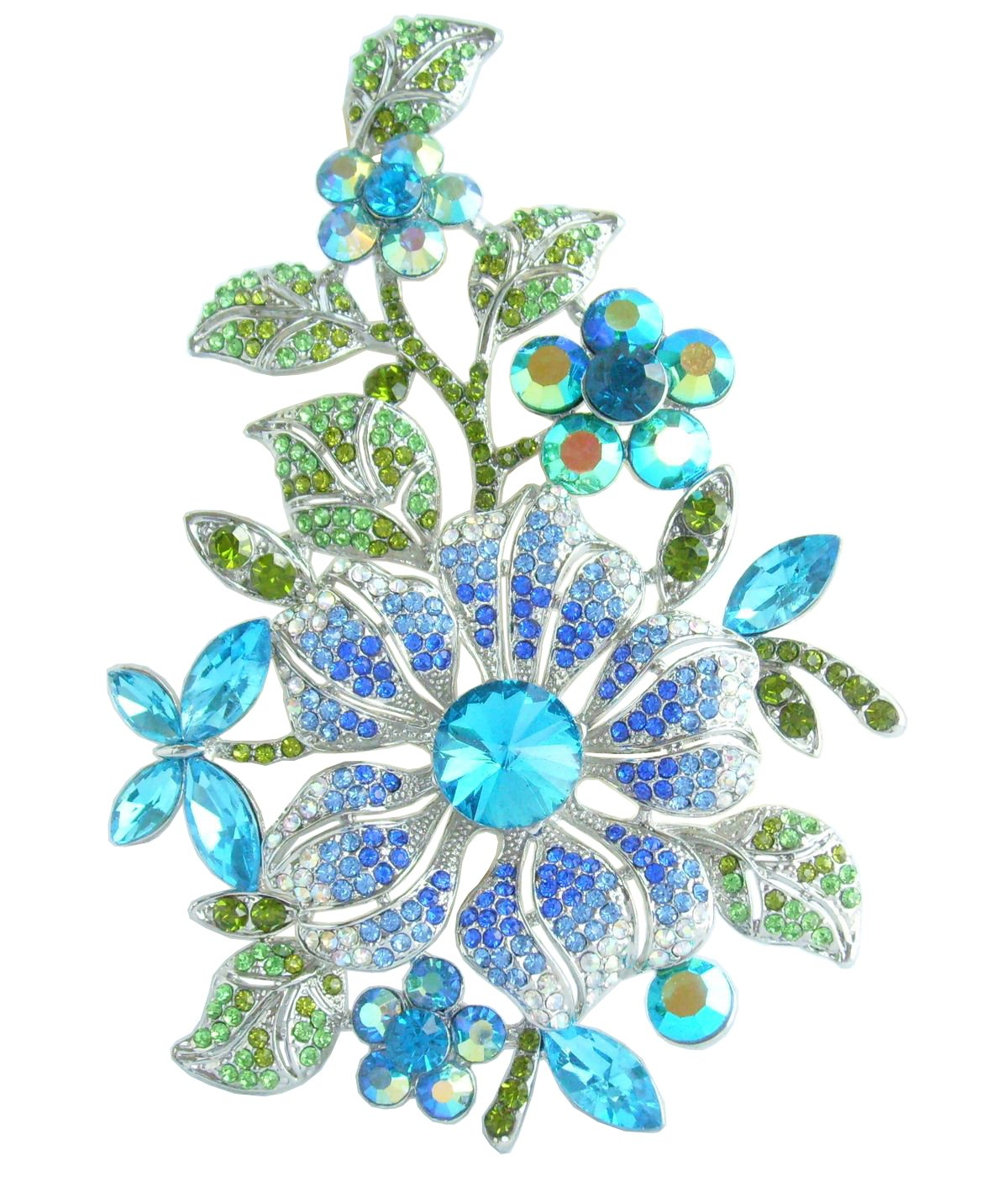 Sindary Beautiful 4.72'' Austrian Crystal Orchid Flower Brooch Pin Pendant BZ4712 (Silver-Tone Blue)